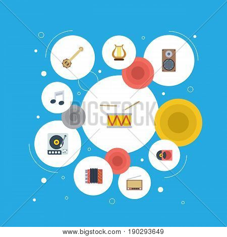 Flat Icons Banjo, Turntable, Audio Box And Other Vector Elements. Set Of Audio Flat Icons Symbols Also Includes Turntable, Box, Note Objects.