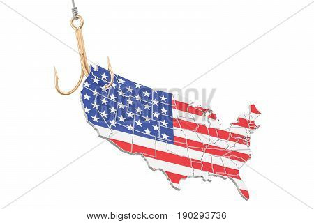 Fishing hook with map of USA 3D rendering isolated on white background