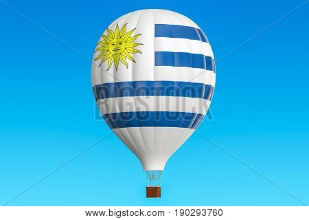 Hot air balloon with Uruguay flag 3D rendering