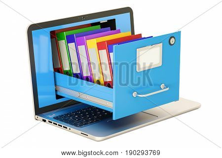 Laptop data storage. Notebook with folders in filing cabinet 3D rendering