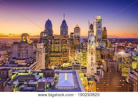 Philadelphia, Pennsylvania, USA downtown city skyline.