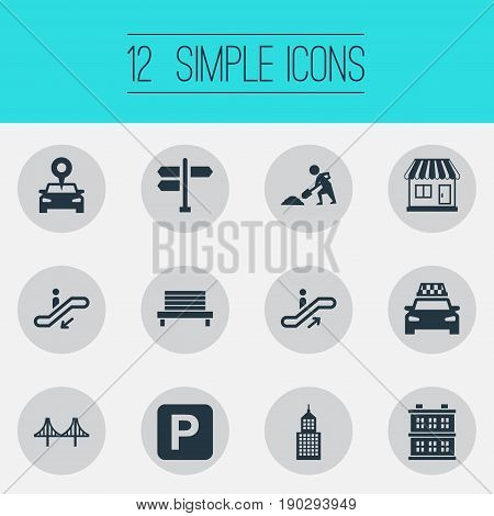 Vector Illustration Set Of Simple City Icons. Elements Passenger Transportation, Manufacture, Car Park And Other Synonyms Under, Awning And Stall.