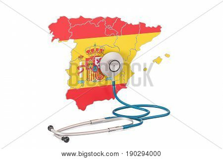 Spanish map with stethoscope national health care concept 3D rendering
