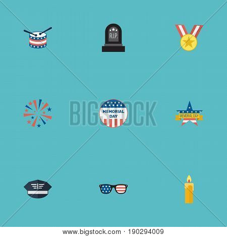 Flat Icons Memorial Day, Firecracker, Fire Wax And Other Vector Elements. Set Of Day Flat Icons Symbols Also Includes Fire, Memorial, Drum Objects.