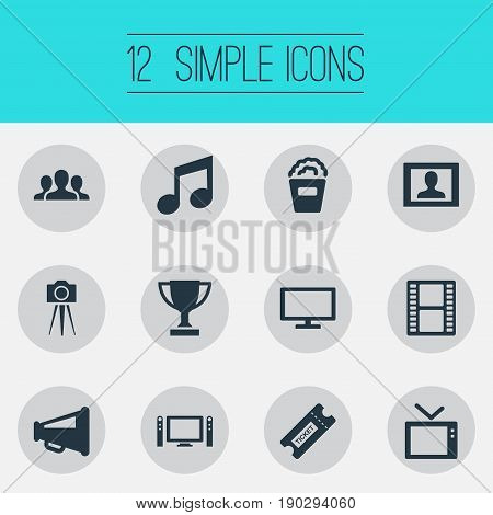 Vector Illustration Set Of Simple Movie Icons. Elements Home Cinema, Negative, Presenter And Other Synonyms Orator, Popcorn And Loudspeaker.