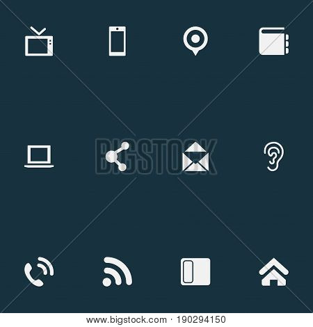 Vector Illustration Set Of Simple Communication Icons. Elements Smartphone, Connection, Telly And Other Synonyms Ear, Computer And Address.