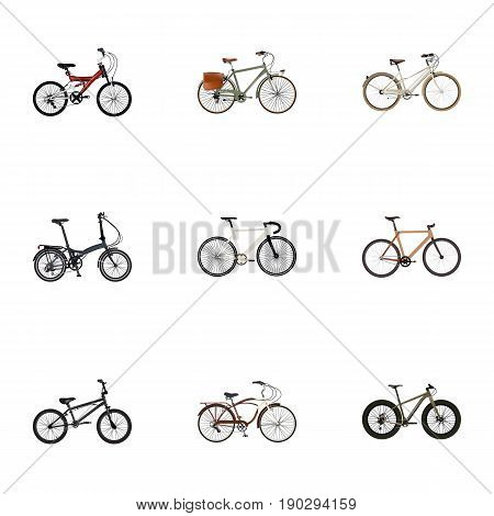 Realistic Bmx, Extreme Biking, Adolescent And Other Vector Elements. Set Of  Realistic Symbols Also Includes Teenager, Bmx, Extreme Objects.