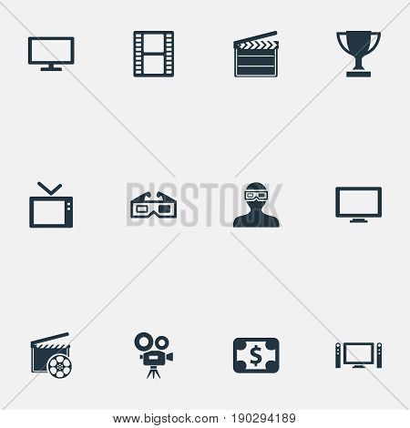 Vector Illustration Set Of Simple Film Icons. Elements Television, Cinematography, Screen And Other Synonyms Man, Champion And Filmstrip.
