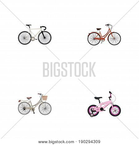 Realistic Childlike , Road Velocity, Brand Vector Elements. Set Of Bike Realistic Symbols Also Includes Childlike, Bicycle, Brand Objects.