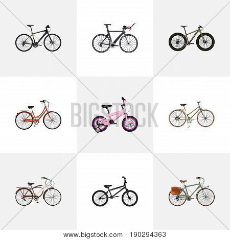 Realistic Journey Bike, Hybrid Velocipede, Extreme Biking And Other Vector Elements. Set Of Bike Realistic Symbols Also Includes Retro, Cruise, Bmx Objects.