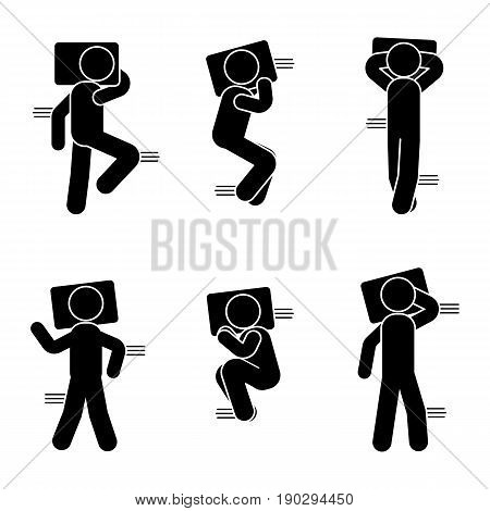 Stick figure different sleeping position set. Vector illustration of dreaming person icon symbol sign pictogram on white