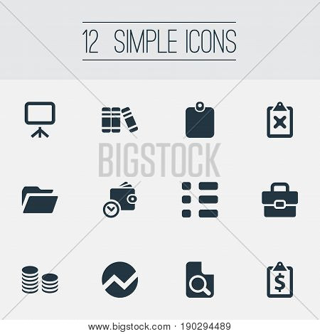 Vector Illustration Set Of Simple Financial Icons. Elements Authentication, Wallet, Rate And Other Synonyms Presentation, Graphic And Magnification.
