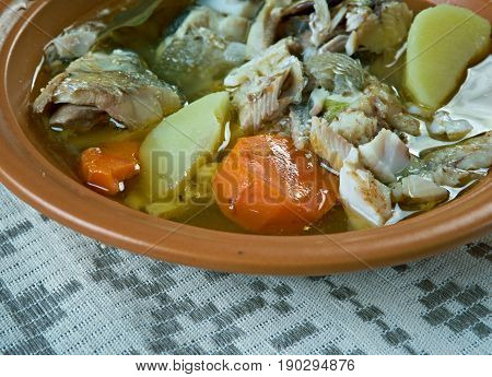 Siberian Fish soup with whitefish. close up.