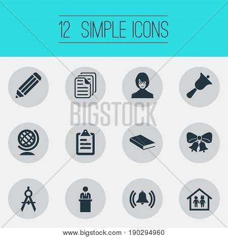 Vector Illustration Set Of Simple Education Icons. Elements Bell, Test, Tutor And Other Synonyms Man, Tribune And Holiday.