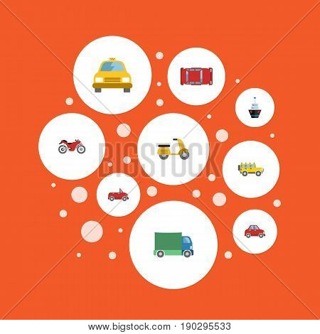 Flat Icons Transport, Lorry, Cab And Other Vector Elements. Set Of Vehicle Flat Icons Symbols Also Includes Scooter, Truck, Boat Objects.