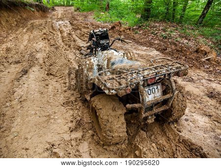 View from Quad bike in mountainous area and impenetrable road in dense forest. The ATV is very much covered with mud