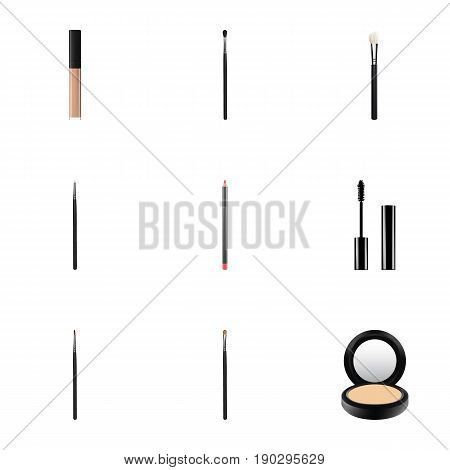 Realistic Brush, Blusher, Mouth Pen And Other Vector Elements. Set Of Cosmetics Realistic Symbols Also Includes Blending, Cosmetics, Brush Objects.