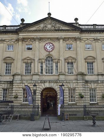 The Corn Exchange Corn Street Bristol Grade I listed building completed 1743 The clock has two minute hands showing GWT and Bristol time
