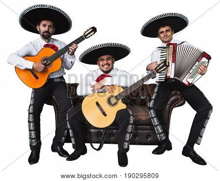 Mexican musicians mariachi band. Isolated on white background