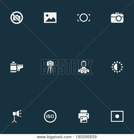 Vector Illustration Set Of Simple Photograph Icons. Elements Brilliance, Rim, Registration And Other Synonyms Printer, Picture And Photographing.