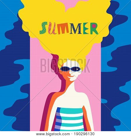 Summer time concept. Hand drawn fancy letters. Retro poster in pop art style. Beach season fun rest. Blondy girl laying on beach. Beautiful young woman in sunglasses. Vector summer holiday background