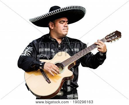 Mexican musician mariachi. Isolated on white background