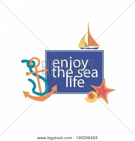 Nautical poster concept. Set of cute cartoon seaside symbols in retro cartoon style. Fancy letters maritime headline. Marine icons of vintage seashore lifestyle banner background. Vector illustration