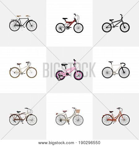 Realistic Retro, Childlike, Journey Bike And Other Vector Elements. Set Of Bike Realistic Symbols Also Includes Adolescent, Stylish, Childlike Objects.