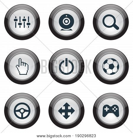 Vector Illustration Set Of Simple Game Icons. Elements Arrows, Shut Down, Pointer And Other Synonyms Racing, Search And Video.