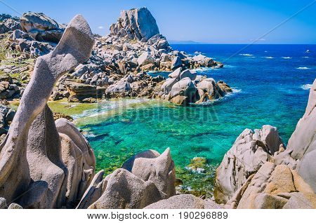 Rock formations in Capo Testa, Sardinia, Italy. Mediterranean coast. Natural granite rocks monument.
