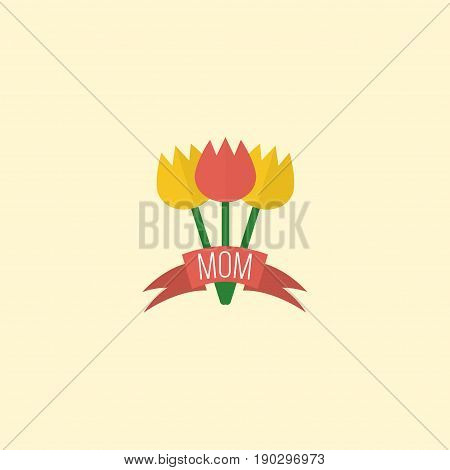 Flat Icon Flower Element. Vector Illustration Of Flat Icon Tulips Isolated On Clean Background. Can Be Used As Bouquet, Flower And Tulips Symbols.