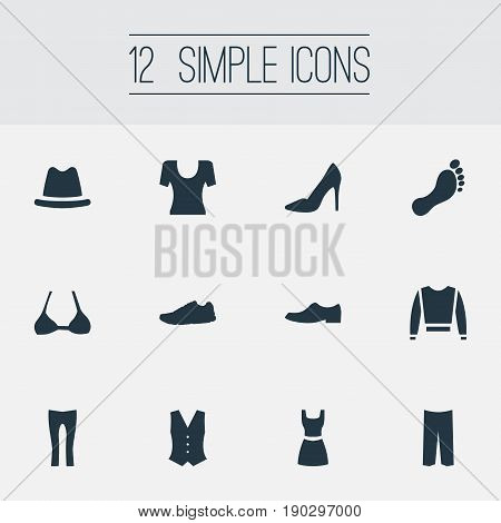 Vector Illustration Set Of Simple Clothes Icons. Elements Headpiece, Fashionable Attire, Pants And Other Synonyms Shirt, Uniform And Headpiece.