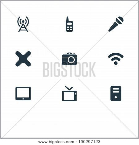 Vector Illustration Set Of Simple Hardware Icons. Elements Antenna, Photographing, Record And Other Synonyms Television, Antenna And Touchscreen.