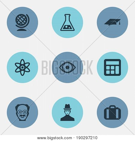 Vector Illustration Set Of Simple Knowledge Icons. Elements Administration, Reckoning, Briefcase And Other Synonyms Researcher, Counting And Administration.