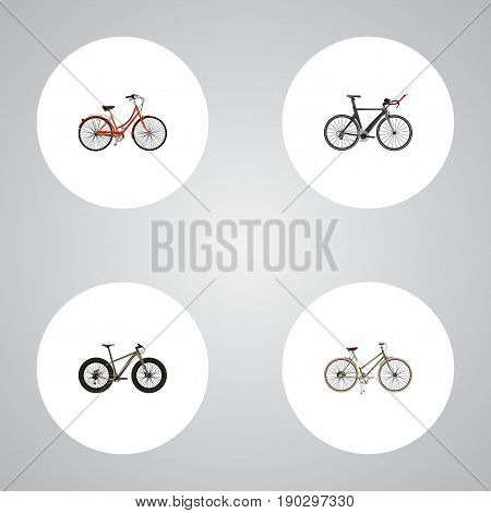 Realistic For Girl, Bmx, Retro And Other Vector Elements. Set Of  Realistic Symbols Also Includes Bicycle, Bmx, Old Objects.