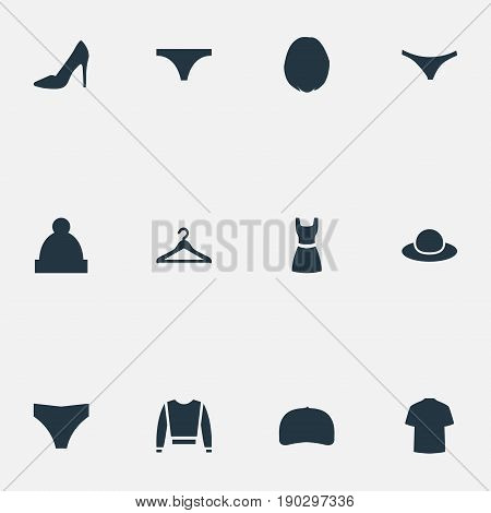 Vector Illustration Set Of Simple Wardrobe Icons. Elements Ski Hat, Fashionable Attire, Underclothes And Other Synonyms Woman, Cap And Underpants.