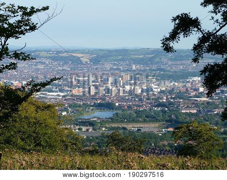 Downtown Belfast from the slopes of Cave Hill