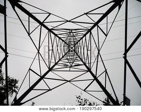 Looking up to the top of a Pylon from underneath