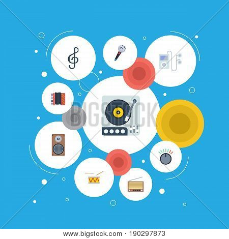 Flat Icons Mp3 Player, Quaver, Knob And Other Vector Elements. Set Of Music Flat Icons Symbols Also Includes Accordion, Microphone, Drum Objects.