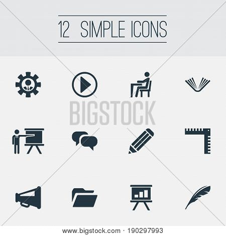 Vector Illustration Set Of Simple Conference Icons. Elements Archive, Drawing, Discussion And Other Synonyms Drawing, Engineer And Dialog.