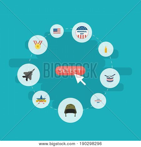 Flat Icons Memorial Day, Medallion, Aircraft And Other Vector Elements. Set Of Memorial Flat Icons Symbols Also Includes Helmet, Award, Drum Objects.