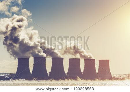 Cooling towers of Nuclear Power Plant or NPP in Novovoronezh, radioactive energy reactor