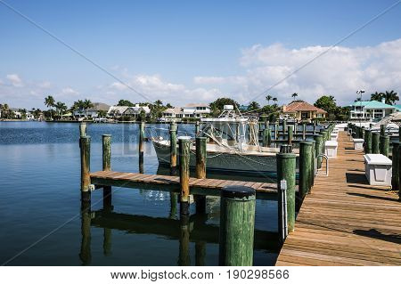 Naples Bay marina in Florida from Tamiami Trail in sunny day. USA