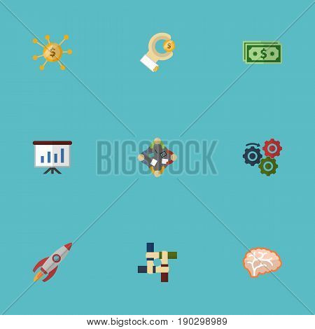 Flat Icons Discussion, Coin, Financing And Other Vector Elements. Set Of Projects Flat Icons Symbols Also Includes Hand, Discussion, Launch Objects.