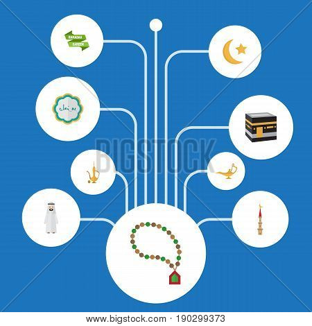 Flat Icons Bead, Ramadan Kareem, Mecca And Other Vector Elements. Set Of Ramadan Flat Icons Symbols Also Includes Mosque, Decorative, Jug Objects.