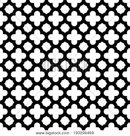 Quatrefoil seamless pattern background in black and white. Vintage and retro abstract ornamental design. Simple flat vector illustration.