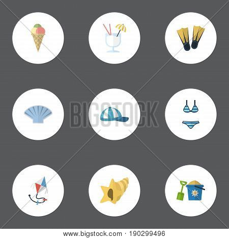 Flat Icons Shovel, Drink, Beachwear And Other Vector Elements. Set Of Summer Flat Icons Symbols Also Includes Ice, Underwear, Conch Objects.