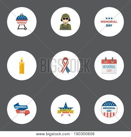 Flat Icons Usa Badge, History, Memorial Day And Other Vector Elements. Set Of Memorial Flat Icons Symbols Also Includes Banner, Candle, Memorial Objects.