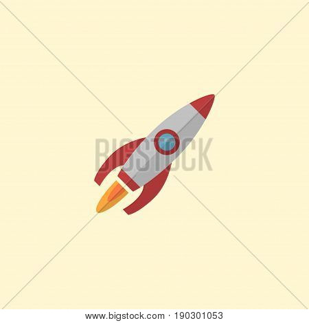 Flat Icon Launch Element. Vector Illustration Of Flat Icon Rocket Isolated On Clean Background. Can Be Used As Rocket, Launch And Run Symbols.
