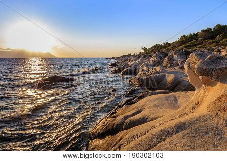 sunrise in Orange Beach. The east coast of Sithonia peninsula Halkidiki Greece